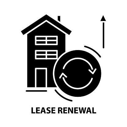 lease renewal icon, black vector sign with editable strokes, concept symbol illustration