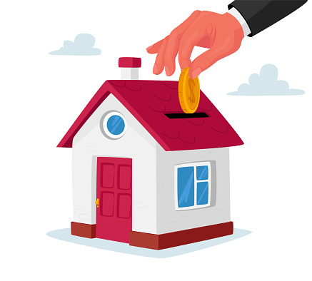 Mortgage and Home Buying Concept. Huge Human Hand Put Golden Coin into Slot at Roof of Cottage House. Investment in Real Estate, Loan Payment, Building Purchase, Debt. Cartoon Vector Illustration