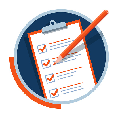 Paper checklist and pencil icon. Successful formation of business tasks and goals. Flat vector pictogram